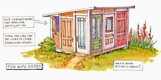 Here is a way to build your clubhouse (or garden shed, studio, backyard guest room.) with very little cost, at least for the walls - use. Shed Building Plans, Shed Plans, Old Screen Doors, Recycled Door, Shed Construction, Build Your Own Shed, Shed Doors, Shed Kits, She Sheds