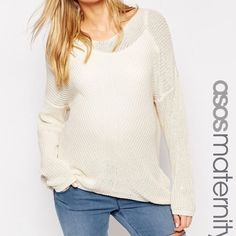 Asos maternity V neck sweater Asos maternity v neck sweater with traveling rib, worn once, great condition, Us size medium, runs large, cream color ASOS Sweaters V-Necks