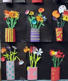 Mother's Day 3D picture - Cut paper relief sculptures in tin can planters.