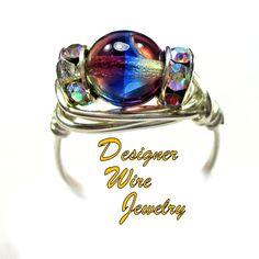DWJ0436 Lovely Czech Art Glass Purple Blue Jonquil Silver Wire Wrap Ring All Sizes