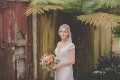Pink wedding bouquet idea - garden roses, zinnias, craspedia and eucalyptus {Levien & Lens Photography}