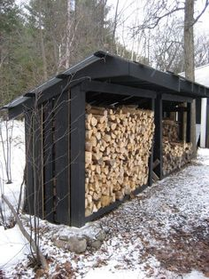 You want to build a outdoor firewood rack? Here is a some firewood storage and creative firewood rack ideas for outdoors. Lots of great building tutorials and DIY-friendly inspirations! Outdoor Firewood Rack, Firewood Shed, Firewood Storage, Outdoor Storage, Big Sheds, Wood Storage Sheds, Wood Store, Into The Woods, Backyard Sheds