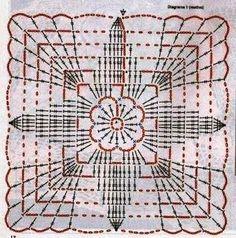 Square motif for napkin, tablecloth. Crochet Squares, Grannies Crochet, Crochet Motif Patterns, Crochet Circles, Crochet Mandala, Crochet Diagram, Crochet Art, Cotton Crochet, Crochet Doilies