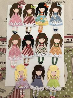 Good idea to make them into embroidery (if I can 😄) Paper Doll Craft, Prima Paper Dolls, Doll Crafts, Fox Nursery, Paper Cards, Kids Cards, Paper Piecing, Scrapbook, Doll Patterns