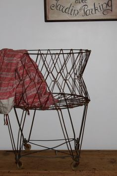 Vintage Wire Laundry Basket for Laundry Room