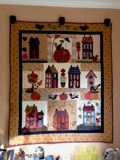 My Quilt. Autumn House, one of Anne Sutton's great patterns at Bunny Hill. Used all sorts of scraps.