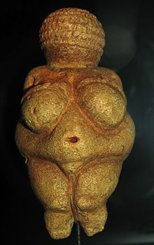 Venus of Willendorf is a 11.1-centimeter (4.4 in) high statuette of a female figure estimated to have been made between about 28,000 and 25,000 BCE.[