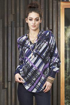Monterey Shirt - delightful mix of blues, purples plaid and print Blues, Plaid, Purple, Fabric, Shirts, Tops, Women, Fashion, Gingham
