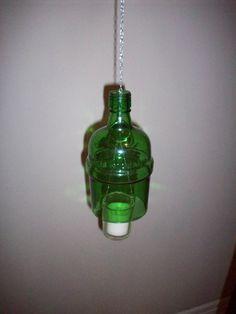 Liquor bottle hanging tea light