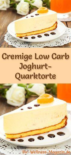 Rezept für eine Low Carb Joghurt-Quarktorte: Der kohlenhydratarme, kalorienreduzierte Kuchen wird ohne Zucker und Getreidemehl zubereitet ... #lowcarb #kuchen #backen