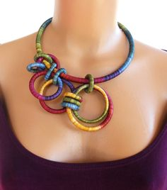 "Asymmetrical Textile Statement Necklace Gladiola - by ""fiber2love"" on etsy"