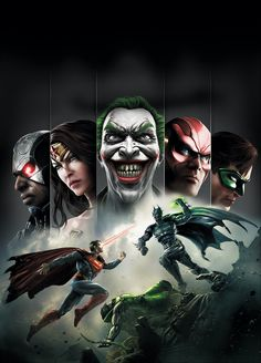 This is a poster for Injustice : gods among us. I like the placement of the characters on this poster, I also like the fighting between Batman and Superman just below the Joker, I think that it represents the game greatly because that's the style of gameplay within the game itself.