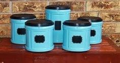 Fabulous Folger's coffee plastic containers upcycled into kitchen storage!