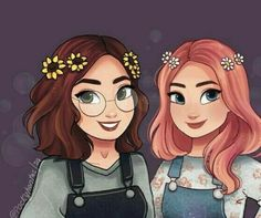 Why does this look exactly like my two OCs Valerie and Ashlynn The only thing is that Ashlynn has reddish hair and brown eyes not pink hair. But the brunette looks just like how I imagine Val but with a little darker skin tone. Girl Drawing Sketches, Cute Girl Drawing, Girly Drawings, Best Friends Cartoon, Friend Cartoon, Cartoon Girls, Cartoon Drawings Of Girls, Cute Art Styles, Cartoon Art Styles