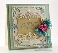 Card making ideas by Becca Feeken using *new* Heirloom Flourish One Die along with Spellbinders Labels Sixteen and Elegant Labels Four
