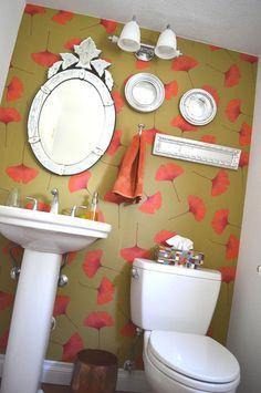 eclectic bathroom by Mid Mod Mom  marimekko wallpaper