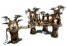So LEGO has announced the release of this 250 dollar Ewok Village playset in September. The kit will contain pieces and a number of rare Star Wars minifigs including Endor Princess Leia, Endor Endor Luke, Endor Han Solo and a handful of Ewoks. Star Wars Ewok, Lego Star Wars, Model Building Kits, Building Blocks Toys, Lego Tree House, Tree Houses, Fairy Houses, Lego Ewok, Custom Lego