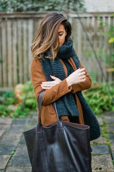 Stylish bag and oversized scarf