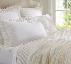 Hadley Ruched Duvet Cover & Sham - Ivory | Pottery Barn $32-$149