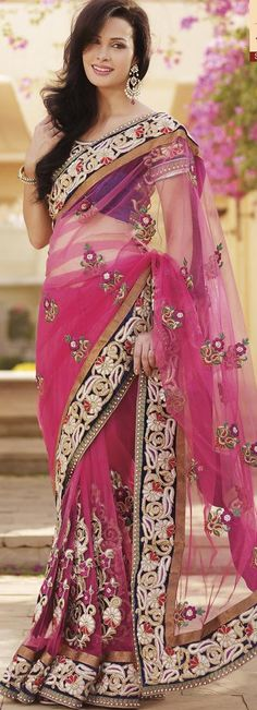 $262.59 Pink Net Saree 18900 With Unstitched Blouse