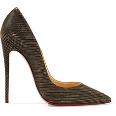 Christian Louboutin So Kate 120 metallic canvas pumps ($695) ❤ liked on Polyvore featuring shoes, pumps, black, black slip-on shoes, black high heel shoes, metallic pumps, black pumps and black shoes
