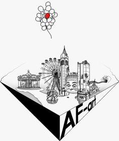 • LUNA DARK • Drawing. Arte, art, disegno, drawing, draw, painting, paint, grafica, graphic, lunapark, luna, park, distrutto, Černobyl', bianco e nero, faccia, cattivo, bad, ruota panoramica, giostra, giro della morte, palloncini, rosso, red, torre