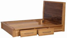 Rustic Wooden Bed Frame with Storage Box