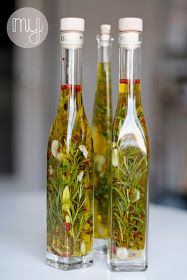 Homemade olive oil with herbs