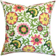 Cotton pillow showcasing a flowing floral motif in yellows, pinks, and greens.   Product: PillowConstruction Material...