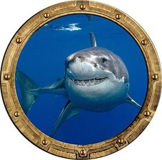 Port Scape Shark 1 Porthole Wall Sticker Graphic Decal
