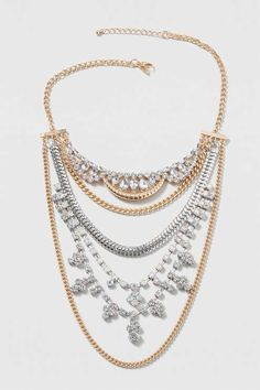 Rhinestone and Chain Multirow Necklace