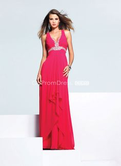 V-neck empire draping beaded chiffon A-line Evening Dress - gopromdres.com
