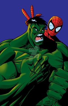 #Hulk #Fan #Art. (Hulk and Spidey) By: Darkdaysartist. (THE * 5 * STÅR * ÅWARD * OF: * AW YEAH, IT'S MAJOR ÅWESOMENESS!!!™)