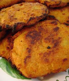 Jo and Sue: Baked Indian Spiced Sweet Potato Patties - This is a very simple, inexpensive recipe that really spices up a meal. I served it with leftover roast chicken and a green salad and it was wonderful.