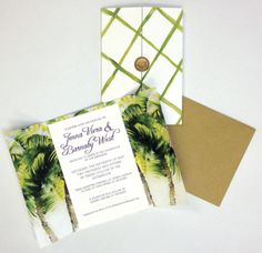 Tropical pattern wedding invite #wedding