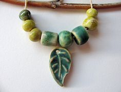 Green Leaf Pendant and Beads Stoneware Clay by TinasBeadMind