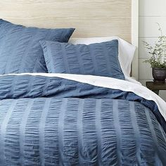 Organic Seersucker Duvet Cover - Golf Blue #WestElm  $80  I love the color of this duvet cover... ocean blue! And it's 100% certified organic!