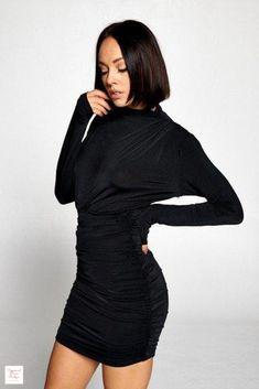 Long Sleeve Ruched Skirt Mini Dress - Black / M