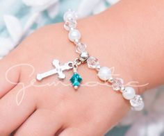 Birthstone bracelet, Personalized christening gift, baptism gift, flower girl bracelet, first communion gift, kids jewelry, wedding jewelry