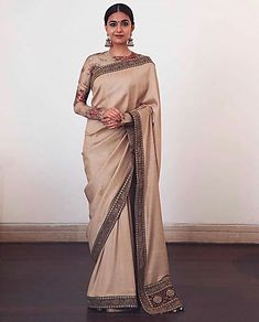 Keerthy Suresh wore her Sabyasachi sari with a beautiful full-sleeved floral blouse. Find out how you can recreate her look Indian Dresses, Indian Outfits, Pakistani Dresses, Indian Sarees, Sabyasachi Sarees, Lehenga, White Off Shoulder Dress, Saree Look, Elegant Saree