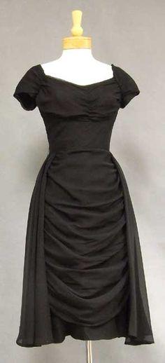 Gathered Chiffon 1950's Cocktail Dress w/ Fluttering Overskirt