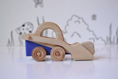 Wooden Toy Tractor With Wooden Boulders - Wood Construction Truck - Wood Car - Wood Toy