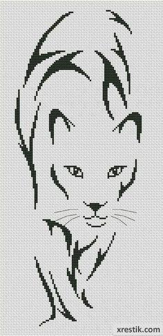 Львица Животные Монохром  Схема для вышивки scheme for cross stitch