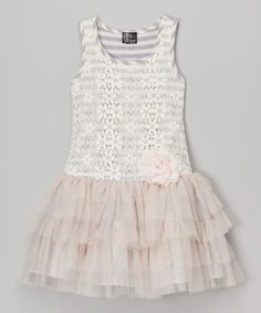 5519a70b94 Love this Zunie  amp  Pinky Heather Gray  amp  Blush Floral Lace Dress -  Toddler