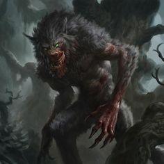 """Grim Hollow: The Monster Grimoire"" By Hollow Grim Fantasy Creatures, Mythical Creatures, Zombie Monster, Werewolf Art, Beast Creature, Horror Movie Characters, Vampires And Werewolves, Dark Fantasy Art, Weird World"