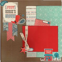 2 page Scrapbooking Layout Kit - Just Horsin' Around by CropALatteToGo on Etsy