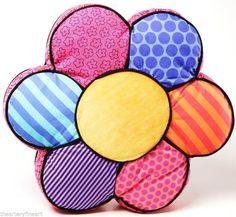 """ROMERO BRITTO 'Flower' Pillow / Plush / Soft Sculpture Pop Art 14""""x14""""x3"""" *NEW*"""