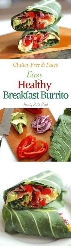 Healthy Breakfast Burrito. Paleo and cluten0free, it's super quick and easy!