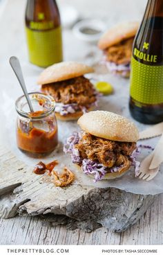 BBQ pulled pork sliders with slaw. Make your own thick BBQ sauce use it to make killer pulled pork add some slaw and make incredible sliders for your next party. Bbq Sauce Ingredients, Slaw Recipes, Pork Recipes, Pulled Pork Sliders, Pork Burgers, Chef's Choice, Slider Recipes, Pork Dishes, Food Inspiration