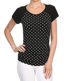 Another great find on #zulily! Black & White Polka Dot Raglan Top #zulilyfinds